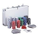 Relaxdays Pokerkoffer, 300 Laser Pokerchips, 2 Kartendecks, 5 Würfel, Dealer Button,...