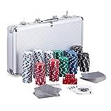 Relaxdays Pokerkoffer, 300 Laser Pokerchips, 2 Kartendecks, 5 Wrfel, Dealer Button, Aluminiumkoffer...