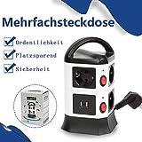 FullBerg 7 Fach Steckdosenleiste 2 USB Mehrfachsteckdose (Steckerleiste mit Kindersicherung,...