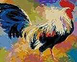 SZYUY Malen Nach Zahlen Tiere Tier Großer Hahn Inklusive Pinsel Und Acrylfarben Für Erwachsene Und...