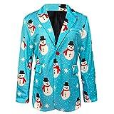 Yowablo Blazer Men Weihnachtsdruck Santa Jacket Outwear Umlegekragen Mantel (XXL,12- Blau)