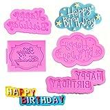 SUNSK Silikon Fondant Kuchen Formen 3D Happy Birthday Buchstaben Silikonformen Bonbon...