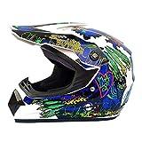CZLWZZD Motocross-Helm Kinder-Motorradhelm,DH-Downhill-Dirt Bikes,DOT-Zertifizierungshelm,Full Face...