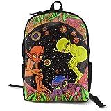 Aliens Psychedelic Trippy Art Laptop-Rucksack, wasserdicht, Schulrucksack, Tagesrucksack