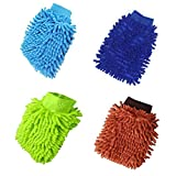 Waschhandschuh Auto, 4 Stücke, Mikrofaser Autowaschhandschuh, Mikrofaser Handschuh, Chenille...