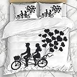 Luancrop Dekorative Bettbezug-Sets Niedliche Tandem Romantisches Paar Auf Datum Fahrrad Vintage...