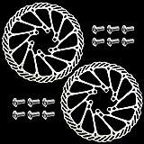 DXLing 2 Stück Fahrrad Bremsscheibe 160mm 6 Loch Edelstahl Bremsscheibe für Fahrrad Brems Scheibe...