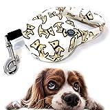 Pocket Roll-Leine Mini Hundeleine 3m Band Design Welpe braun