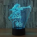 7 Farblampe 3D Visual LED Nachtlichter für Kinder Touch USB Tischlampe Lampe Baby Sleeping...