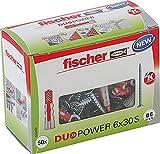 fischer DUOPOWER 6 x 30 S, Universaldübel mit Sicherheitsschraube, 2-Komponenten-Dübel,...