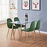 GOLDFAN Moderne Rechteckiger Esstisch Glas mit 4 Stühlen Metallbeine Geeignet für Esszimmer...
