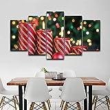 MYSY Wandkunst Bilder HD gedruckt Poster 5 Panel Weihnachtskerzen Moderne Malerei auf Leinwand...