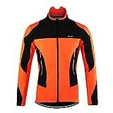 d.Stil Herren Fahrradjacke Langarm Fleece Winddicht MTB Jacke S - 2XL (Orange, XL (Körpergröße:...