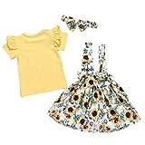 Kleinkind Kinder Outfits Set Baby Mädchen Kurzarm T-Shirts Tops Sonnenblumen Blumen Trägerkleid...