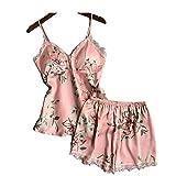 Sleep Lounge Nachthemd Set Satin Nachtwäsche Damenblume Nachthemd für Frauen mit Brustpolster