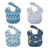 Vicloon Baby Lätzchen, 4 Stück Wasserdicht Lätzchen mit Tasche, Unisex Babylätzchen, 4 Muster...