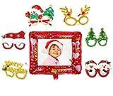 6pcs Weihnachtsbrillen, 1pcs Aufblasbarer Fotorahmen, Partybrillen Set Kreative Weihnachten Brillen...