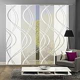 Home Fashion 94662 | 4er-Set Schiebegardinen TIBERIO | Scherli Blickdicht & transparent | wollweiß...