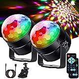 Litake Discokugel Discolicht LED(Upgrade 6 LED),2 Stück Partylicht 7 Farben Modi Musikgesteuert...