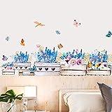 Wandtattoo Schmetterling Blume zå calo Kinderzimmer Kindergarten Hintergrund Wand