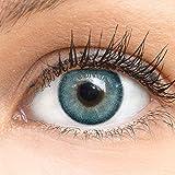 Blaue Farbige Kontaktlinsen Bella Blue Blau Sehr Stark Deckende SILIKON COMFORT NEUHEIT von GLAMLENS...