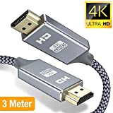 4K Hdmi Kabel 3m,Snowkids HDMI 3Meter 2.0 High Speed 18Gbps 4K@60Hz Nylon Geflechtkabel, Video UHD...