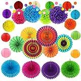 Fiesta Party-Dekorationen, 27 Stück, mehrfarbig, Papier-Dekorationen für Geburtstage, Hochzeiten,...