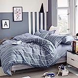 KEAYOO Bettwäsche 155x 220 Grau Weiß Gestreift 100% Baumwolle mit Reißverschluss 2 teilig