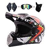 LEENY Motocrosshelme UFO-Stil Motorrad-Off-Road-Helm Kinder Crosshelme Set mit...