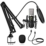 TONOR USB Mikrofon Set, Kondensator Mikrofon 192 kHz / 24 Bit Plug and Play Computer Mikrofon für...