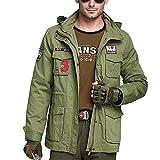 VDSON Herren Damen Outdoor Windbreaker Multi Pocket Hooded Zipper Jacke Bergsteigen Jacke Soft Coat...