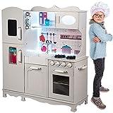 Kinderholzküche Kinderküche Holzküche Kinderspielküche Weiss Spielzeugküche LED GS0053...