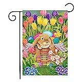 ROKAUY Willkommen Happy Easter Day Gartenflagge Ostern Garten Fahne Kaninchen Eier Gartenflagge Deko...
