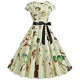 Vintage Kleid für Frauen 1950er Jahre Elegant Rockabilly Retro Santa Claus Zucker Schneemann Druck...