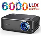 Beamer für Heimkino Office 1080P Full HD, 6000 Lumen Multimedia LCD Video Projektor LED 50.000...