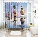 LJJJZS Waschbar Duschvorhang Wasser Steine Unter Blauem Himmel Gedruckt Polyester Wasserdicht...