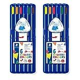 Staedtler 158 SB6 - ergo soft jumbo Farbstift, 2x 6 Buntstifte, STAEDTLER-Box