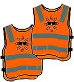2 Kinder Warnwesten Sicherheitsweste Orange - Stark Sichtbar - Atmungsaktiv - Universal Gre
