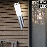 Außen Wand Lampe Garten Fassaden Beleuchtung Edelstahl Fackel Leuchte im Set inkl. LED Leuchtmittel
