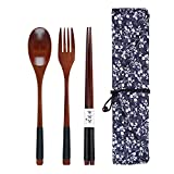 Set mit 3 Holzlöffeln, Gabel und Essstäbchen, japanischer Stil, wiederverwendbar, langer Griff,...