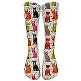 GHJL Cat Damen Kompressionssocken Fuballsocken hohe Socken fr Laufen, Medizin, Athletik, deme,...