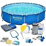 Polbaby Bestway 56681 Set Pool 366 x 76 cm Gartenpool Stahlrahmenbecken 15in1 Set mit Filterpumpe...