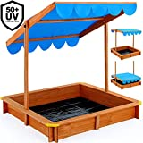 Deuba Sandkasten 120x120cm mit hhenverstellbarem und neigbarem Sonnendach und Bodenplane UV-Schutz...