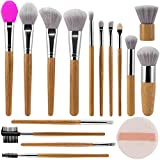 ALLFY Make up brush set 15 pieces professional brush sets premium synthetic wool bristles concealer...