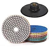 7 Stück 3 Inch Diamant Nass Polierscheibe Set mit Unterstützung Pad für Granit Stein Beton Marmor...