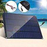 QWERTOUR 20W 12V Solar Panel mit Batterie Clip + 10A Solar Car Laderegler Solarzellen für...