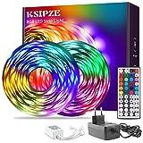 Ksipze LED Strip 15m RGB LED Lichterkette Streifen Licht mit Fernbedienung Beleuchtung Leiste Band...