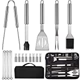 LUOWAN Grillbesteck 20pcs Stainless Steel BBQ Tools Set, Portable Complete Barbecue Utensils Set...