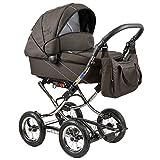 Standardkinderwagen Classic Single, Babywanne mit Wickeltasche und viel Zubehr, Dessin: Brown