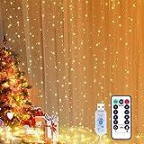 Yizhet Lichtervorhang 3x3m LED Lichterkette LED Lichterkettenvorhang mit 8 Modi, IP65 Wasserdicht...